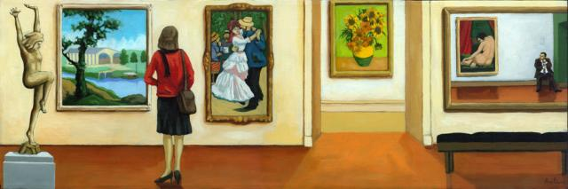 Memories - art within art museum oil painting