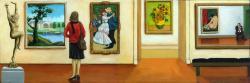 Memories - art within art museum oil painting