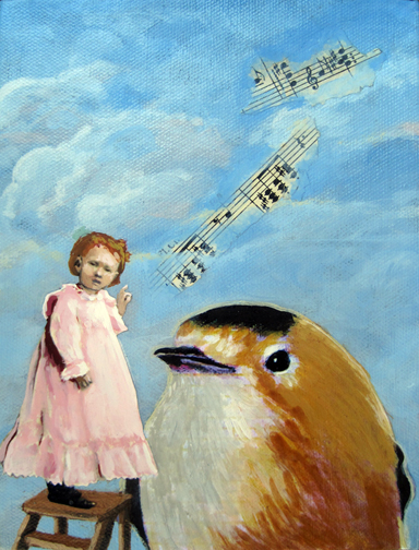 Music To My Ears - vintage musical whimsy oil painting