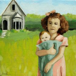 My Favorite Dolly - vintage era oil painting