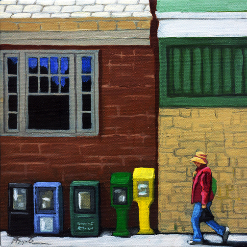 Getting the News - urban art oil painting