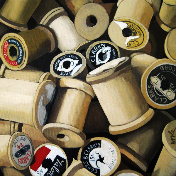 Vintage Wood Thread Spools - realism still life oil painting