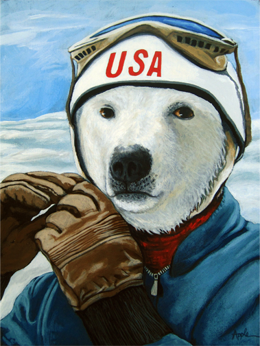 Winter Olympic Skier - Polar Bear animal art