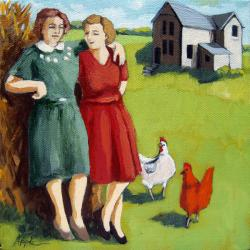 Family Farm Days - figurative vintage image oil painting