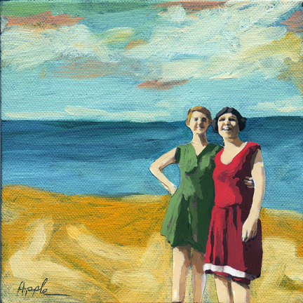 Friends On the Beach - summer scene oil painting