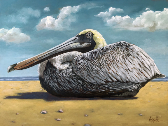 Patient Pelican original realistic portrait oil painting