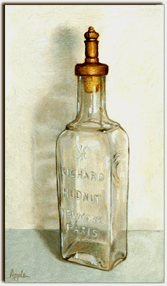 Realistic oil painting a day clear glass antique perfume Painting old glass bottles