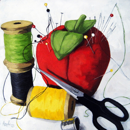 Pins & Needles sewing still life oil painting