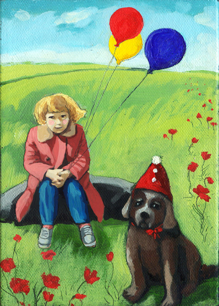 Poppys Birthday - little girl & dog fantasy painting