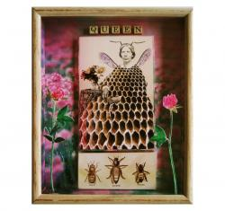 Queen Bee 3D mixed media shadow box art