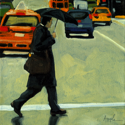 "Figurative Cityscape oil painting - ""Rainy Day Business"""