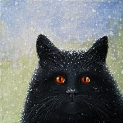 Really? black cat in snow storm realisitic animal portrait
