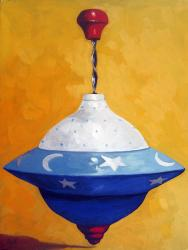 Red, White & Blue Spin Top realistic still life oil painting