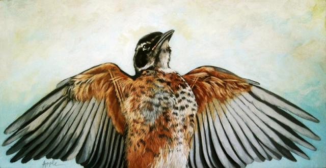 Sebastion the Red Robin - nature art realistic Bird painting