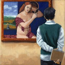 Reflections - art museum figurative oil painting