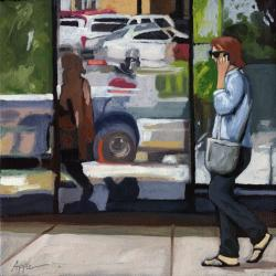 City Reflections - figurative cityscene
