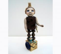 Sewing Muse - found object ooak art doll mixed media sculpture