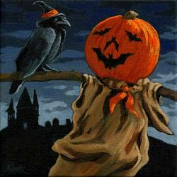 Black Crow & Pumpkin Man - Halloween