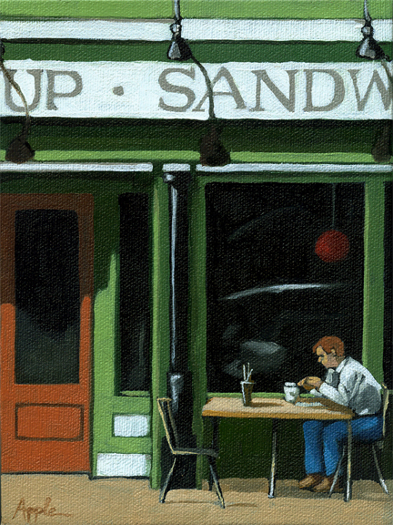 Soup and Sandwich -man at cafe