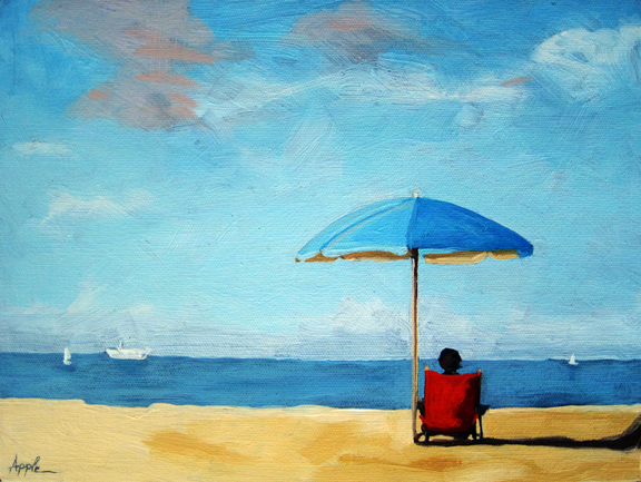 On the Beach - Special TIme - original oil painting