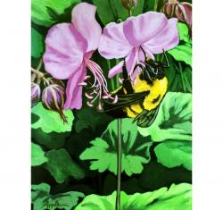 Summer Bumblebee and Flowers floral still life garden realsitic painting