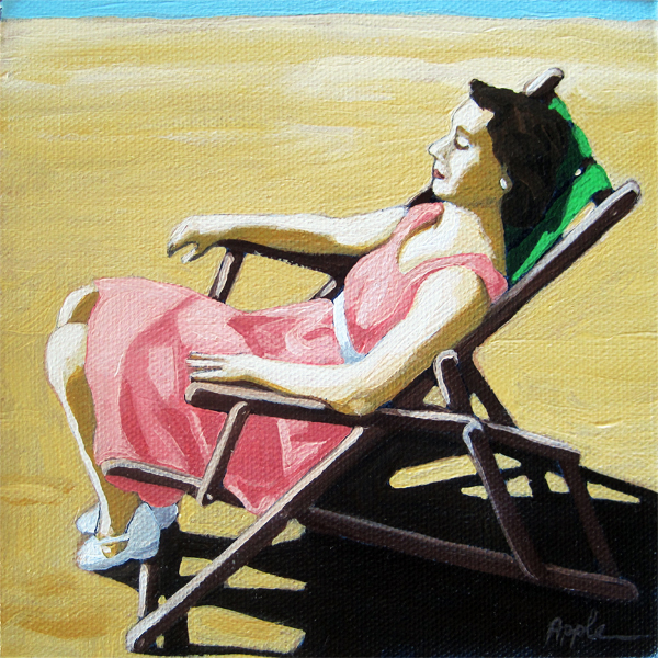 Summertime Snooze - woman on beach oil painting