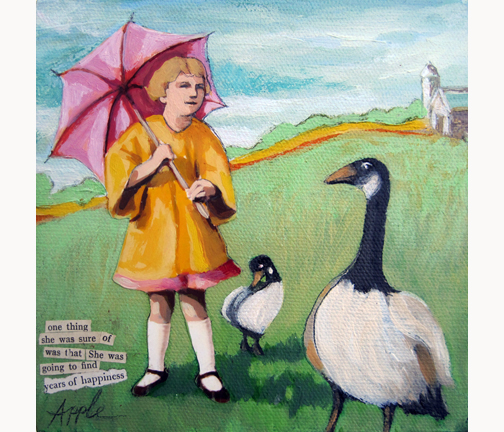 Take a Gander - girl spring day farm geese mixed media