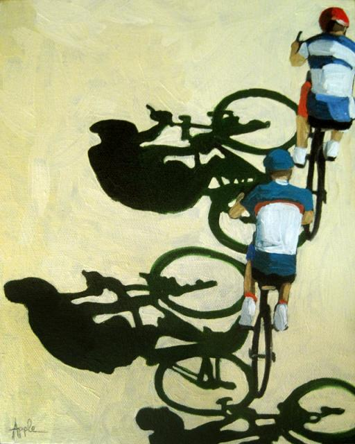The Race bicycle art oil painting