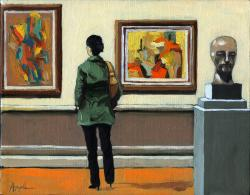 Woman with abstract paintings art museum