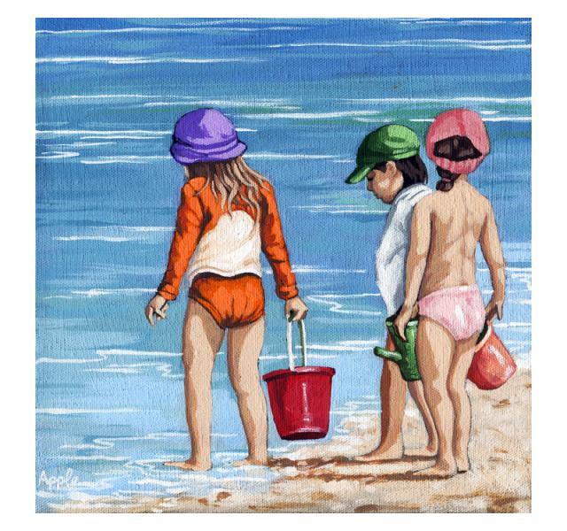 Looking for Seashells Children on the beach figurative painting