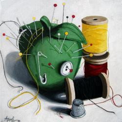 Time to Sew - realistic sewing tools oil painting