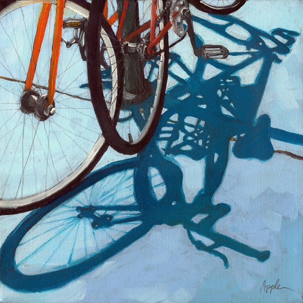 Together - bicycle art oil painting