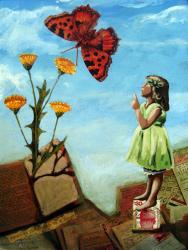 Transformation - Butterfly & Little Girl vintage mixed media painting