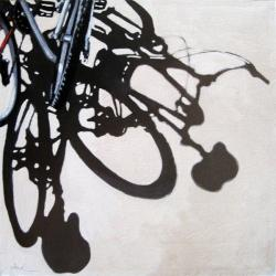 Two for One bicycle art city scene original oil painting