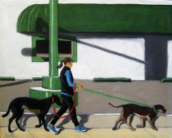 Walking the Dogs - woman on city street