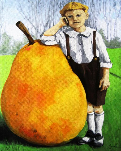 Unlikely Pear vintage fantasy image oil painting