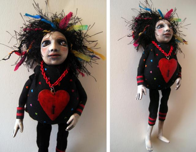 Goth Key To My Heart ooak art doll assemblage mixed media