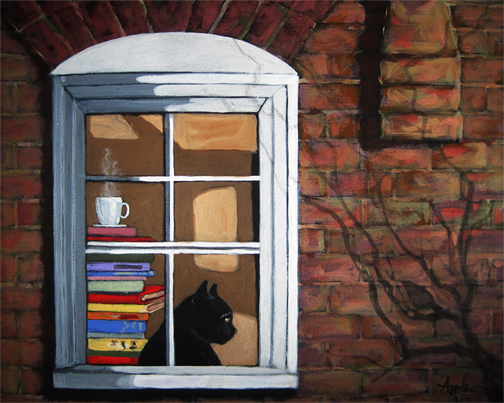 Cat in window animal art portrait