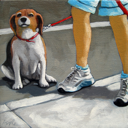 Beagle dog city walk figurative oil painting