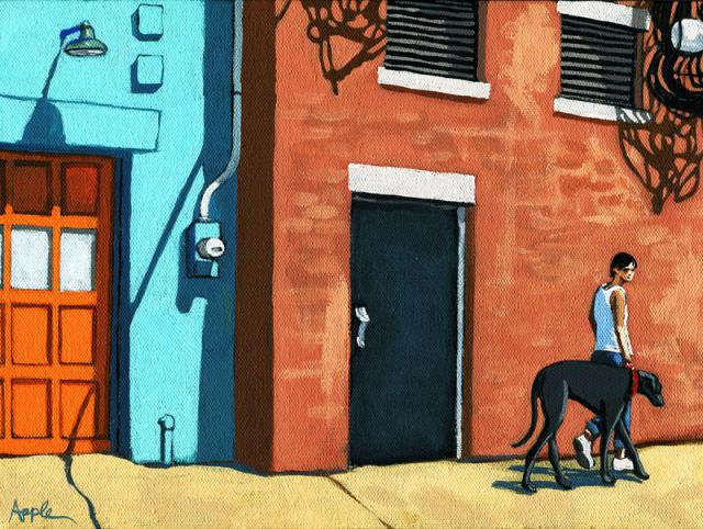 Walking Tall - woman on city street with big dog - figurative art