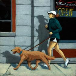 Walking the Dog - figurative oil painting