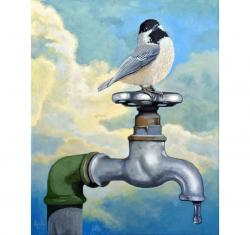Chickadee realistic bird portrait on old water faucet painting
