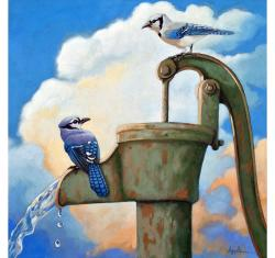 Blue Jays on Old Water Pump Bird realistic animal portrait painting