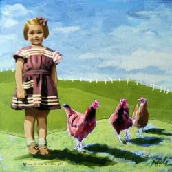 Little Girl with Chickens - vintage era summer Special #2 oil painting