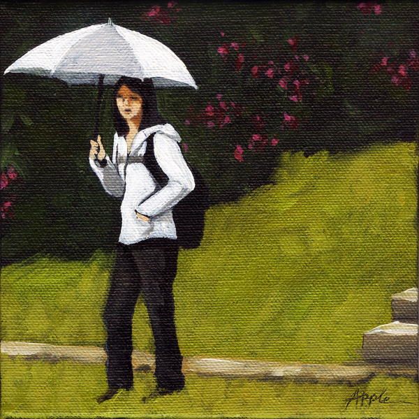 White Umbrella - figurative city scene