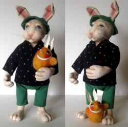Wiber & Friend - OOAK rabbit fantasy sculpture