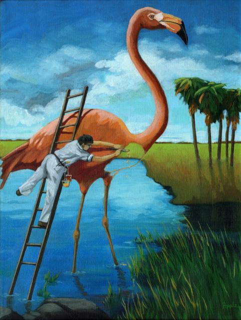 Plein Air Wildlife Artist - Day of the FLamingo