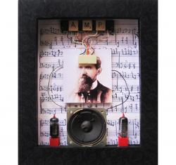 Wired For Sound - assemblage, mixed media,3D shadow box art