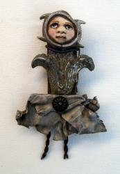 Tulip - found objects art doll ANGEL sculpture