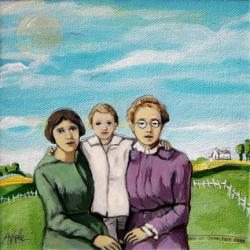 A Day On The Farm - family figurative mixed media painting